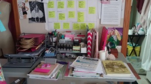 This is my Main WorkStation. All my STAMPS, BAGS, Recipets, go here usually. I have been working on Wedding Planning and Business Planning so much lately my two books, Binders and notes are all in the front.